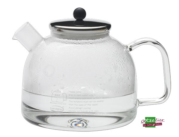 Wasserkocher, 1,75 l, Glas m. Edelstahldeckel