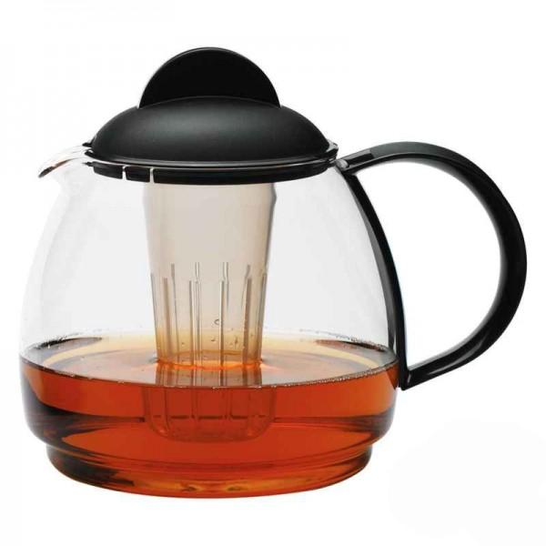 Trendglas Teekrug 1,8l, mit Sieb, schwarzem Griff und Deckel