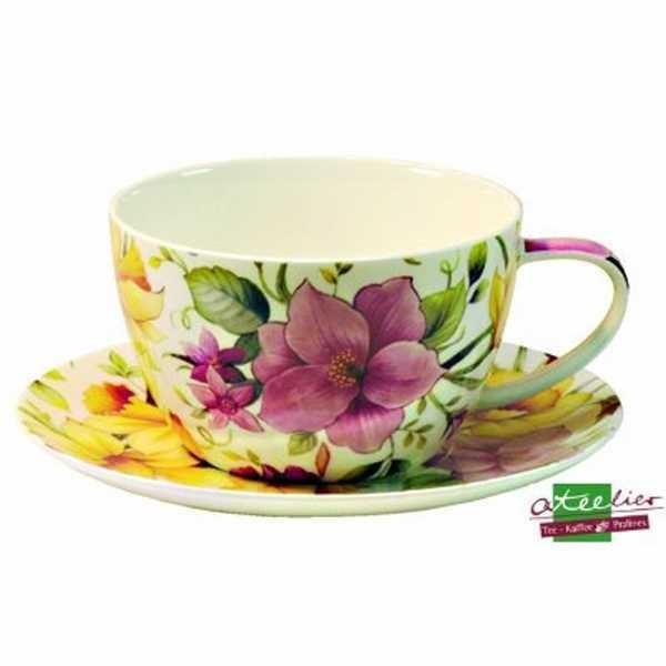 """Tasse """"Pink Flower"""", m. Untertasse"""