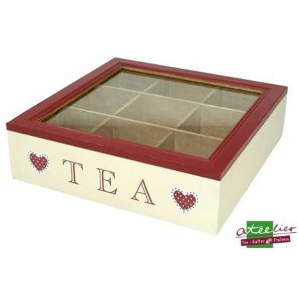 Tee Box Holz, 9 Fächer, 240 x 240 mm, m. Sichtfenster