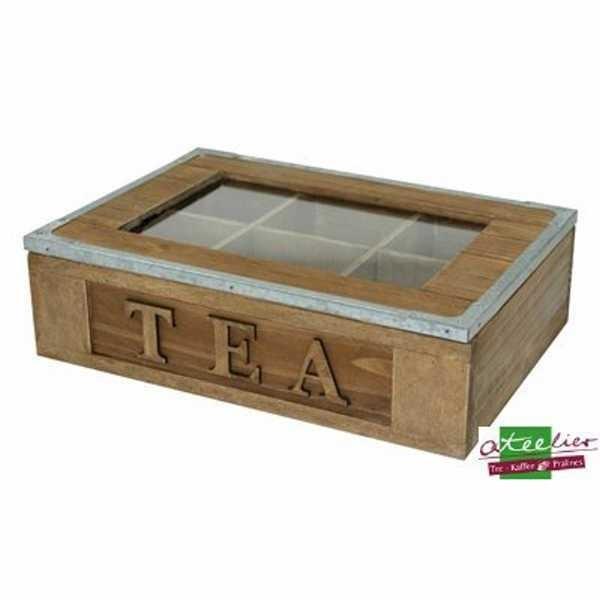 Tee Box Holz, 6 Fächer, 265 x 190 x 75 mm, m. Sichtfenster